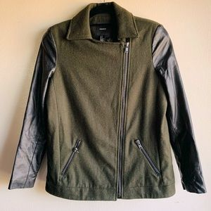 Forever 21 Green/Black Wool Zip Up Jacket Size S